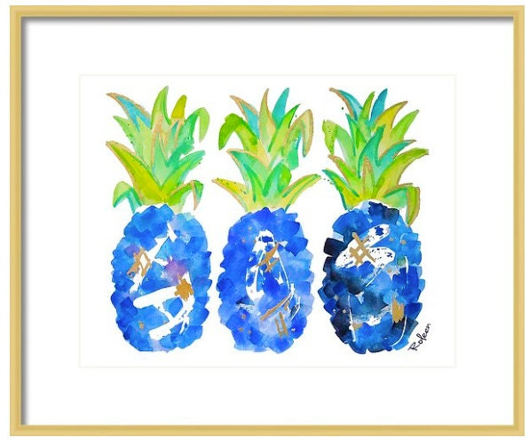 Tropical Wall Art blue pineapple watercolor art-tropical wall art-wall decor