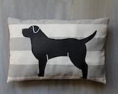 Black Labrador Hand Painted Pillow