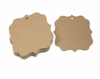 Craft tags, Paper tags, Brown tags, Brown Kraft tags, Wedding favor tags, Place Cards, Set of 50 - 2.5""