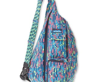 Monogrammed Kavu Rope Bags - Electric Rain - Great gift for College, Teens, Women, Outdoors Satchel Crossbody Tote