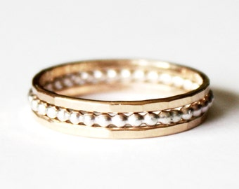 14k Goldfilled and Sterling Silver Stacking Rings - Hammered - 925 - Unisex Wedding Ring - Gold and Silver - Wedding and Egagement Ring Set