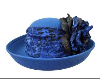 """Women's Kettle Style Winter Hat, Tea Party Hat, Felt Church Hat in Royal Blue - """"LA Vie en Blu"""""""