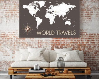 Personalized Travel Map, INTERACTIVE Map, Mark the places you've traveled // Personalized, Gallery Wrapped Canvas or Print // H-I04-1PS AA2