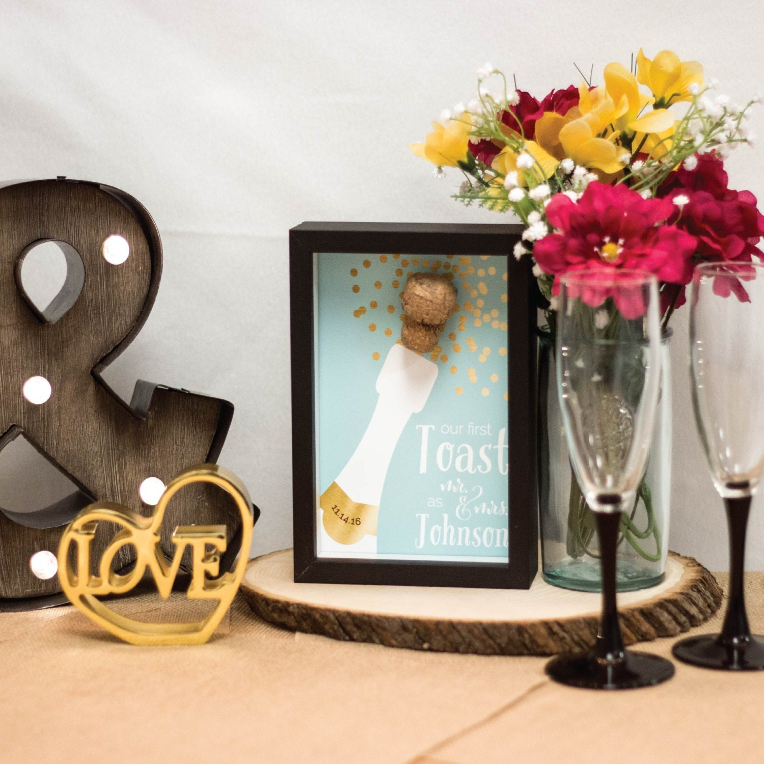 Gifts For Newly Weds: Newlywed Gift Gold Champagne Cork Wedding First By PaperRamma