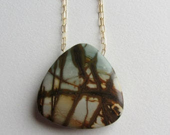 Giant Picture Jasper Statement Necklace with Gold Fill Chain Handmade in Seattle