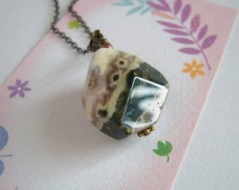 Ocean Jasper Necklace, Natural Stone, Ocean Jasper Pendant, Antiqued Brass Chain