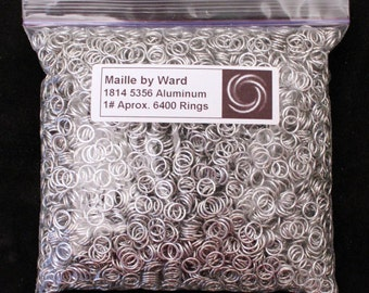 """One pound aluminum 18 gauge 1/4"""" inch inside diameter saw cut chainmail jump rings"""