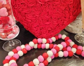 VALENTINE Wool Felt Ball Garland, S.W.A.K.! 6 Feet+ Valentine Decor, Photo Prop! Ready To Ship!