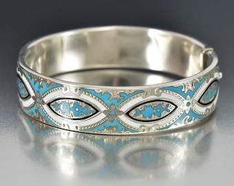 Victorian Cuff Bracelet, Enamel Sterling Silver, Victorian Jewelry, Engraved Bracelet, Antique Jewelry, Victorian Bracelet,Silver Bangle