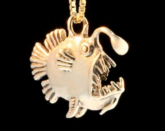 Angler Fish Necklace 14k Gold Angler Fish Charm Angler Fish Pendant Angler Fish Jewelry Fish Jewelry Fish Charm Scary Fish
