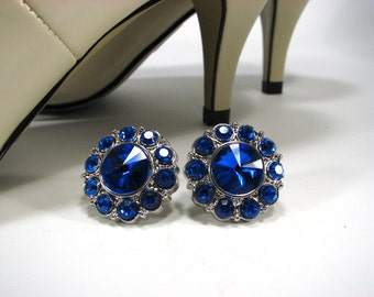 Shoe Clips Royal Blue Rhinestones Round Sapphire 1 Pair Shoe Accessories Jewelry for your Shoes