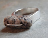 Rockin' Beach Stone Ring, granite, pebble, rock, beach stone jewelry, pebble jewelry, handmade, long stone, stitched, sterling silver ring