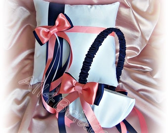 Navy blue and coral wedding basket and pillow, flower girl basket and ring bearer pillow set