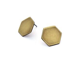 Large Brass Studs, Geometric Post Earrings, Everyday Earrings, Minimal Jewelry, Geometric Stud Earrings, Simple Earrings, Geometric Jewelry