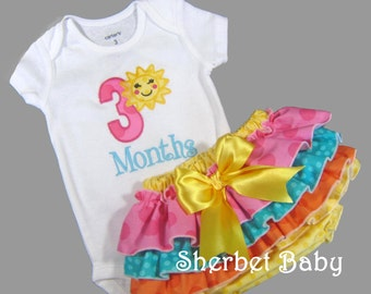 SET You Are My Sunshine 4 Ruffle Classic Style Sassy Pants Ruffle Diaper Cover and Bodysuit or T shirt Appliqued Month Birthday