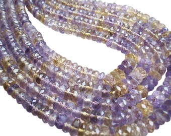 Ametrine Beads Rondelles Stone, Luxe AAA, 5mm, Mixture of Amethyst and Citrine, Purple and Yellow Gemstone, 3210A