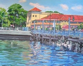 Brooklyn Painting Lundys Sheepshead Bay,  Manhattan Beach 8x10 print  by Gwen Meyerson