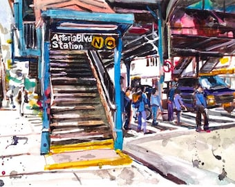 Astoria Queens NYC Watercolor Painting Subway Art  LIC Train Stop Cityscape Fine Art Print El Line, black gray by Gwen Meyerson