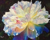White Peony Watercolor Painting Print by Cathy Hillegas, 12x16 art, watercolor peony, floral watercolor print,  pink blue, gifts under 50