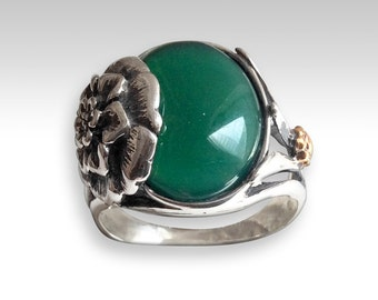 Forest green agate Ring, silver ring, silver gold ring, flower ring, nature ring, boho ring, statement ring, gypsy ring - Deep forest R2209