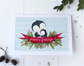 "greeting card - christmas -holiday - penguin - parent and child - evergreen, pine cones- ""Christmas Heart!"""