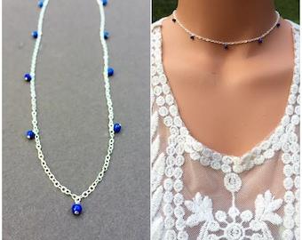Bella Hadid's blue Lapiz Beaded Choker, Blue Beaded choker, Bella Hadid Inspired Necklace, Bella Hadid Blue Necklace