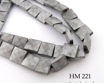 8mm Matte Grey Hematite Square Beads, Matte Gray, Hematite Faceted TIles, 8mm x 8mm (HM 221) 48pcs BlueEchoBeads