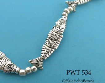 32mm Small Pewter Fish Beads Segmented Fish Beads Greek Style Worry Fish (PWT 534) BlueEchoBeads 4 Fish