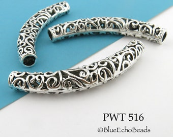 Large Curved Pewter Tube Bead Hollow Tube Bead 65mm (PWT 516) 1 pc BlueEchoBeads