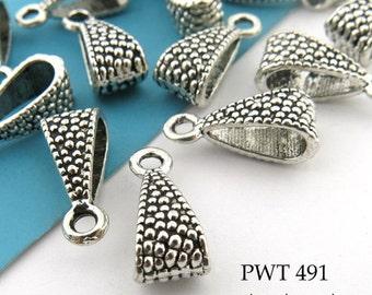 ON SALE Pewter Charm Bail Pebble Textured Pendant Bail Antiqued Silver 15mm (PWT 491) 12 pcs