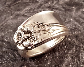 Spoon Ring Daffodil Vintage Silver Plate Your Size MR0301-GDAF
