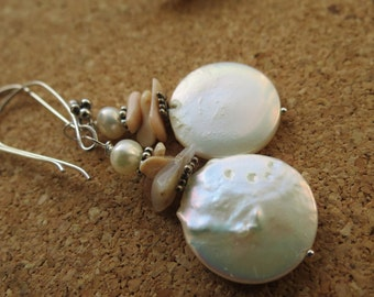 large coin pearl earrings with coral and pink peruvian opal
