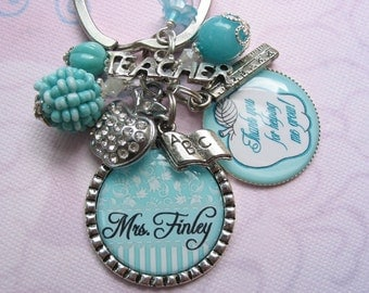 Personalized Teacher's keychain in aqua blue color, teachers gifts, teachers end of year gifts