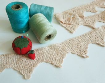 Ecru Crochet Lace Trim Sold By the Yard, 2-1/4 Inch Edging for Craft & Home Decor Sewing Projects, Filet, Cluny