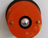 1960s 70s Anvia Dutch orange black metal wall sconce / modernist industrial design wall lamp / eames philips raak era lamp