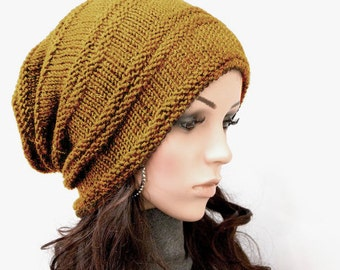 Hand knit hat hat woman hat Mustard yellow Chunky Wool Hat Slouchy hat - ready to ship