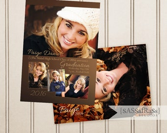 The Paige--5x7 ADOBE PHOTOSHOP Graduation Announcement Template for Photographers, DIY, Grad Party, Open House, Double-Sided