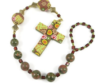 Unakite Anglican Protestant Unisex Prayer Beads Chaplet Rosary Handmade Polymer Clay Focals Under 25 Dollars Religious Christian Gift