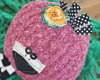 12 month flamingo hat // baby hat // sitter prop //  photo porp // baby photography // shabby chic // bird // summer prop // pink