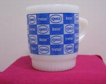 Fire King Elanco Coffee Cup, Treflan Balan Glass Advertising Coffee Mug Anchor Hocking