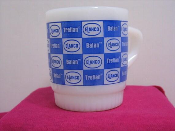 Vintage Fire King Elanco Coffee Cup, Treflan Balan Glass Advertising Coffee Mug Anchor Hocking