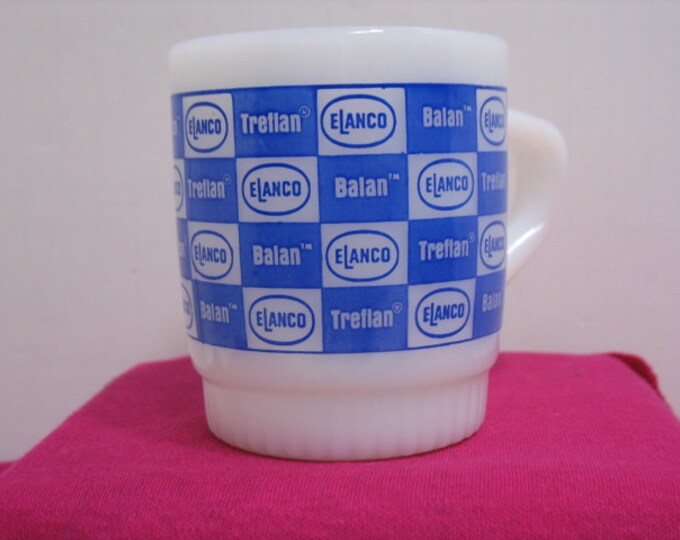 Vintage Fire King Elanco Coffee Cup, Treflan Balan Glass Advertising Coffee Mug Anchor Hocking