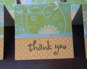 Green Flowered Thank You Note Cards 2x2 (6)