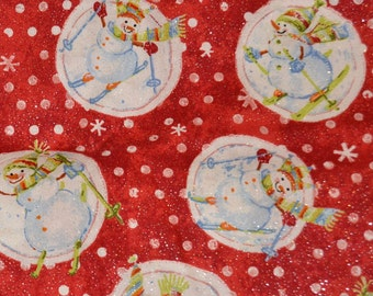Christmas Snowball Gliter Fabric/Material by the yard