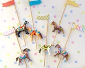 Six Carnival/Circus Horses Cupcake Toppers/Cake Toppers