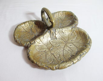 Exquisite Antique Brass Dish. Botanical Leaves Handles Three Sections