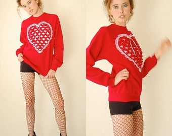 SALE SALE Sweetheart Sweatshirt Vintage 80s Red Saint Valentine Love and Hearts Indie Boho Pull Over Sweatshirt (s m)