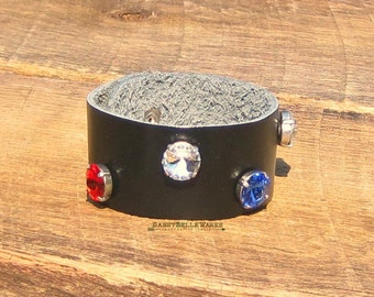 Black Leather Red White Blue Bracelet helps provide service dogs to military veterans soldiers USA United States America rocker chic