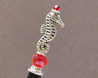 "Seahorse Hairstick Beach Hair Stick Sea Horse Hair Pin Japanese Hair Jewels - ""Rogue Queen"""