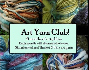 Yarn club knitting gift Art Yarn Club-6 month membership handspun art yarn, includes shipping